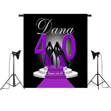 Custom 40th Birthday Backdrops Black Purple Background Lady Heels Photo Studio