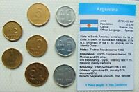 1980's ARGENTINA, Set of 8 GEM UNCIRCULATED COINS in a see through container.
