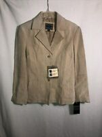 Bernardo Nordstrom M NWT Taupe Brown Suede Leather Jacket Full Zip Coat NEW Md