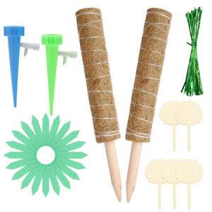 2x 40cm Garden Coir Moss Totem Pole Plant Extension Creeper Potted Support Stick