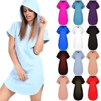 Womens Ladies Oversized Loose Fit Short Sleeve Curved Hem Hooded Mini Dress Top
