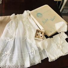 antique baby christening gown slip coat bonnet and booties vtg 50s