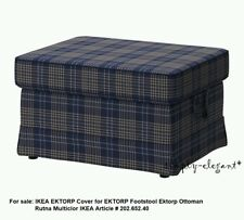 IKEA Ektorp Ottoman Cover Rutna Plaid SlipCover for EKTORP Footstool NEW Sealed