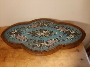 Antique Victorian Bead Work Stand Floral Design Dressing Table Beadwork 52cm