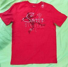 "NEW Boys' GAP Kids Red Soccer ""Striker"" Graphic T-Shirt Cotton Top XXL 14-16"