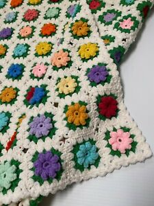 Orange 64 X 47 Green Vintage Granny Square Afghan with 3D Flowers Yellow Off White