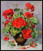 Geranium in a Vase - Chart Counted Cross Stitch Pattern Needlework Xstitch DIY