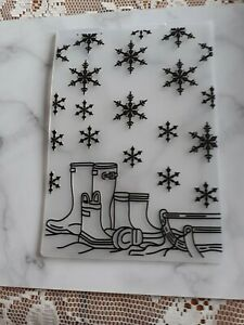 CRAFT CLEAROUT EMBOSSING FOLDER SNOWFLAKES AND WELLIES🎅