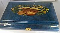 Vintage Inlaid Burl Wood Music Box Trinket Jewelry -Made in Italy