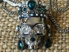 Alexander McQueen Chain & Multicolor Crystals & Perls  Skull Pendant Necklace