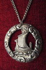 Viking Ship Pendant Norse Longship Thor Odin Drakkar Medieval Pewter Necklace