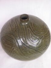 Gorgeous Olive Sage Green Spherical Studio Art Vase