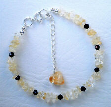 Citrine and black crystal bracelet with silver plated clasp Approx. 20cm and 5cm