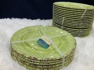 NEW set 6 (12 or18) Cynthia Rowley Melamine Dinner Plates Green Rustic Medallion
