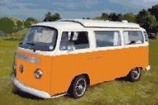 "VW Camper Van / Bus, Orange-Cross Stitch Kit 12 ""x 8"" - 16 COUNT AIDA, anchor"