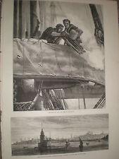 Maiden's Tower Estambul Turquía y armada británica Gatling Gun 1878 Antiguos Grabados R Y1