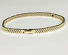 """14kt Solid Yellow and White Gold RLX Watch Style Link Bracelet 7.5"""" 13 Grms 6 MM"""