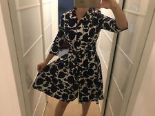 BODEN Blue and Off White Floral Print Shirt Dress With Detatchable Belt Size 10r