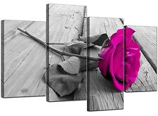 Black White Floral Flower Pink Canvas Wall Art XL 130cm Pictures 4036