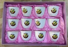 State of Qatar Royal Set of 12 Arabic Coffee Cups with Qatar Coat of Arms in Box