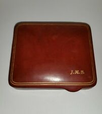 Ladies Art Deco Leather Compact w/Original Powder Puff