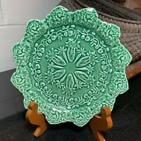 """Bordallo Pinheiro 8 1/4"""" Green Rabbit Accent Salad Plate Made in Portugal - Mint"""