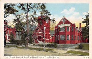 Georgia postcard Columbus Trinity Episcopal Church and Parish House