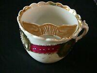 Antique Mustache Mug Cup Porcelain White Gold Victorian Hand Painted, Excellent
