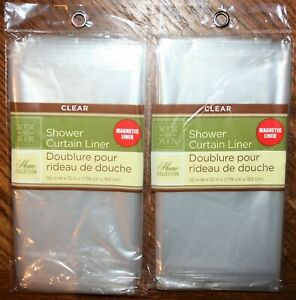 """Set of 2 HOME COLLECTION PEVA Magnetic CLEAR Shower Curtain Liners 70"""" x 72"""" NEW"""