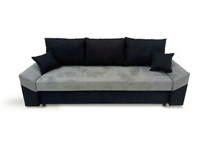 Sofa Bed Three Seater Storage Compartment Bonell Sprung Seat Grey Black Fabric