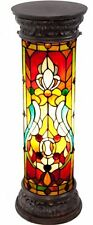 Antique Stained Glass Church Window Lit Pedestal Tiffany Lighting Home Decor