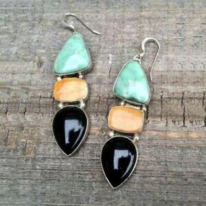 Unusual Resin  Earrings Dangle Stone Metal Ethnic Vintage Jewellery Black Blue