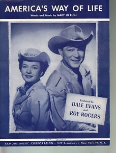 America's Way of Life 1956 Roy Rogers Dale Evans Sheet Music