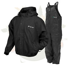 NEW L LG Frog Togs Frogg Toggs Black Pro Advantage Rain Suit Jacket and Bibs