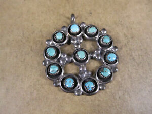 Vintage Sterling Silver & Turquoise Pendant, Unsigned, 8.3g