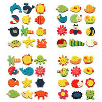 12Pcs/Set Baby Cute Fridge Magnet Wooden Cartoon Animal Child Educational Toys