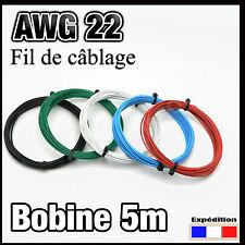 awg22 fil de câblage modélisme électronique bobine 5m, rouge, noir, bleu, vert