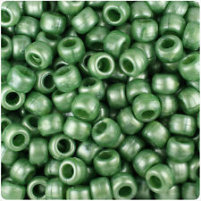 500 Fern Green Pearl 9x6mm Barrel Pony Beads Made in the USA by The Beadery