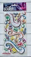 Sticko Colorful Music 3D Stickers Papercraft Planner Scrapbook DIY Craft Cards