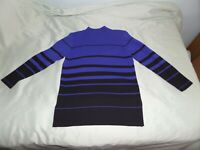 KAREN LESSLEY WOMEN'S BLUE BLACK STRIPED SWEATER SIZE PETITE SMALL