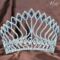 Large Pageant Contoured Tiara Diadem Blue Rhinestone Crown Wedding Party Costume