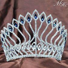 Wedding Bridal Tiara Large Crown Blue Rhinestone Crystal Miss Pageant Party Prom