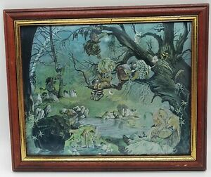 Vintage Framed Dufex Foil Print - The Picnic - Fairy Troll Magic Picture Metal