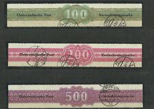 Österreich 1948  Verrechnungsmarken, alle 3 Marken gestempelt ohne Büge