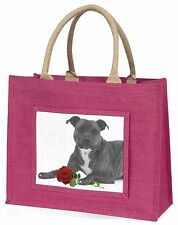 Staff Bull Terrier Dog (B+W) with Red Rose Large Pink Shopping Bag, AD-SBT6R2BLP