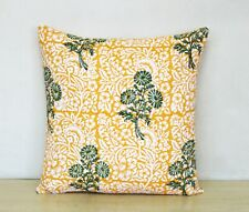 """New Indian Yellow Floral Printed Hand Block 16"""" Cushion Cover Pillow Case Covers"""