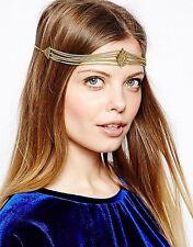 Women Bohemian party Gold color Chain Tassel Forehead Metallic Hair Head band