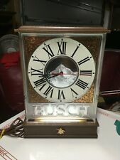 Vintage Busch Beer Lighted Bar Clock Sign Counter or Wall 1986 Everbrite