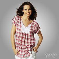 Leichte Karo Tunika *** Bluse – Kurzarm – 100% Baumwolle  Gr.42  NEU