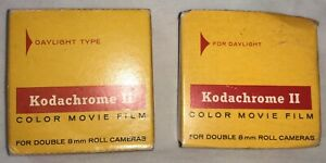 (2) Kodak Vintage Kodachrome II Color Movie Film Double 8mm Roll Cameras 25 ft.